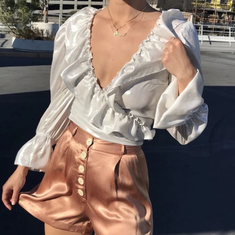 2019 Fashion Women Ladies Glossy V-Neck Ruffle Long Sleeve Blouse Tops Casual Crop Top Shirt Outwear Streetwear