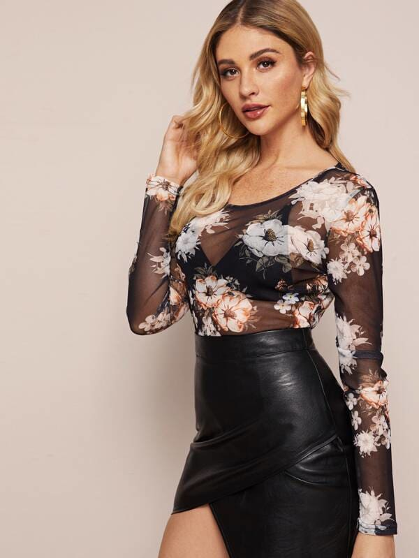 Sexy Mesh Sheer Floral Tops Blouse Summer Holiday Casual Cover Up Tunic Tee Shirt
