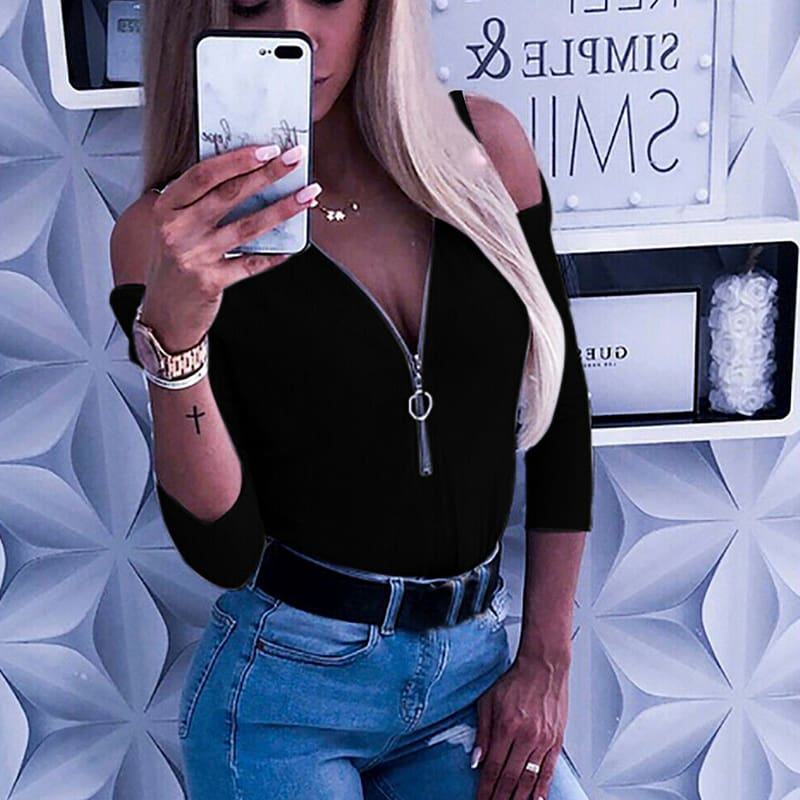 Women Lady Cold Shoulder Casual Slim T-Shirt Top Summer Sutumn Casual Zipper Daily Club Party Tees