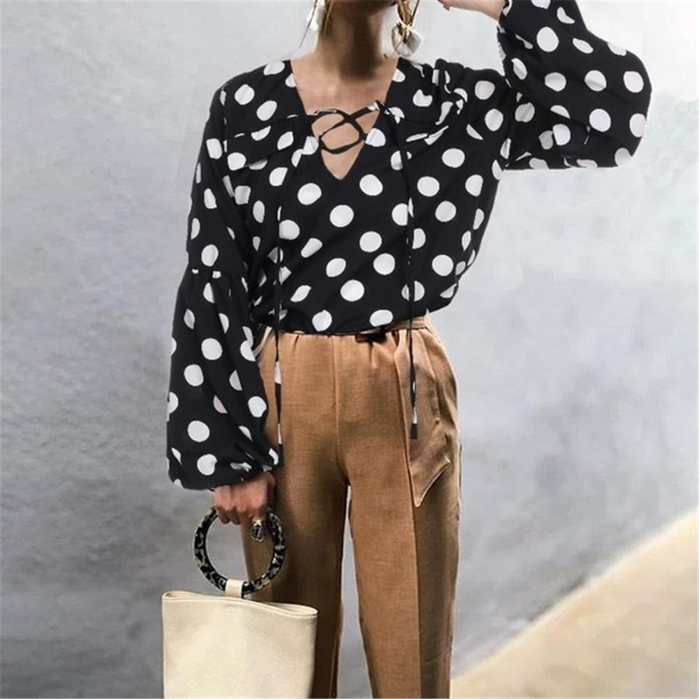 Women Blouse Shirt Polka Dot Striped Leopard Loose Blouse Top Tunic Shirt
