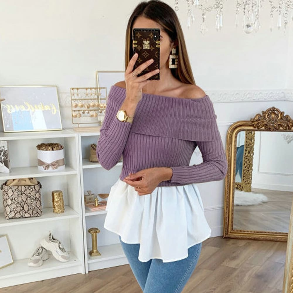 Fashion Sweater Womens Off Shoulder Knitted Sweatshirt Slouch Long Sleeve Pullover Sweaters Jumper Tops