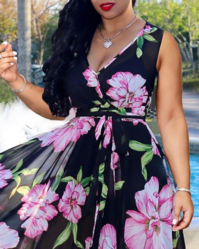 Boho Floral Long Maxi Dress Ladies Casual V Neck Sleeveless Party Holiday Beach Sundress