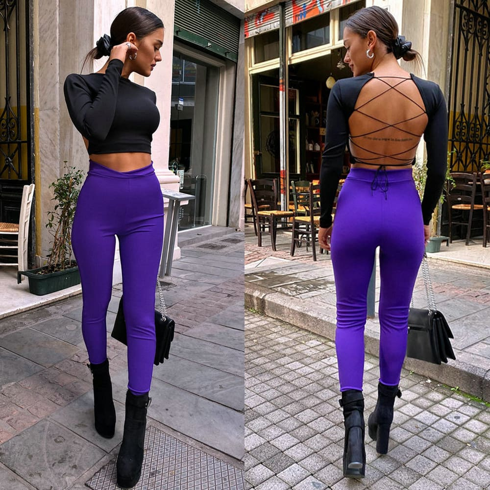 Women Crop Top Long Sleeve Backless Tanks Cropped Party Clubwear Ladies Casual Bandage Tops T shirt