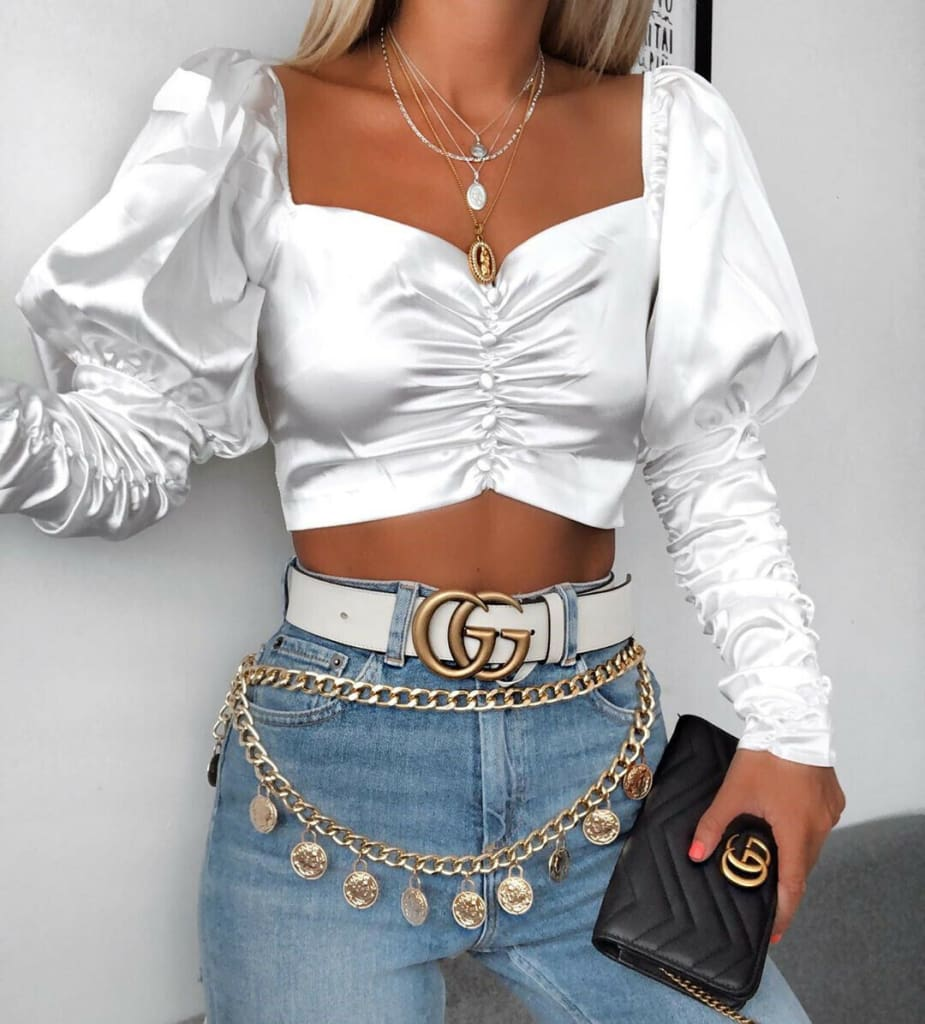 Womens Puff Long Sleeve Blouse Vintage Solid Color Strapless Crop Tops Classic Ladies V-Neck Buttons Shirts Plain Tops