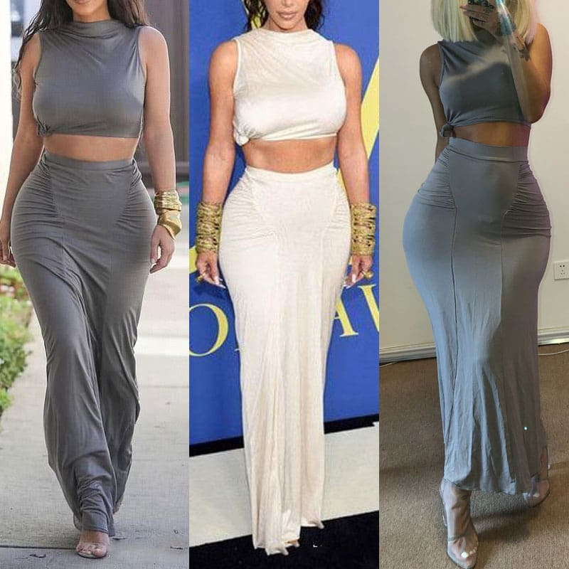 Women Plain Pleated High Waist Long Maxi Skirt Sexy Stretch Solid Bodycon Mermaid Party Skirt
