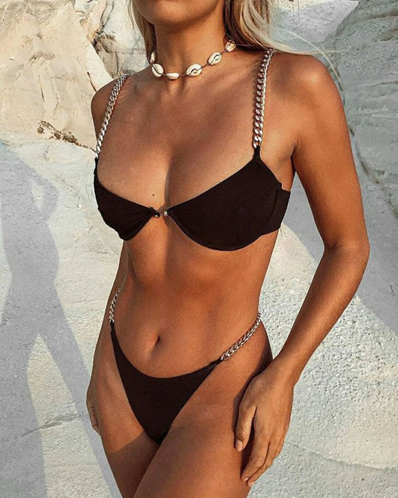 Women Chain Push Up Bikini Set Bra Padded Swimwear Swimsuit Bathing Suit