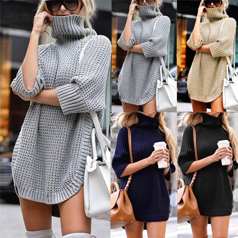 Fashion Women Casual Irregular Sweater Dress Solid Long Sleeve Half Sleeve Knitted Sweater Top Pullover Feminino 50Au2909