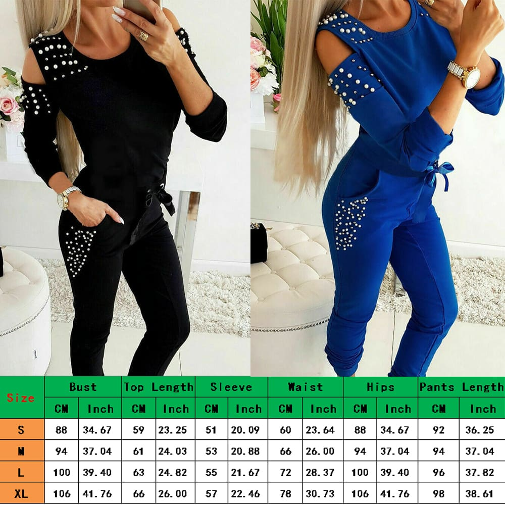 Autumn Women Jogger Casual Running Tracksuit Sweatshirt Tops + Pants 2Pcs Sets Sport Wear Loungewear 2019 New