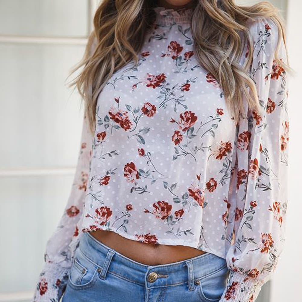 2019 Fashion Womens Loose Crop Tops Sheer Mesh See Through Floral Summer Holiday Ladies Crew Neck Tops Blouse