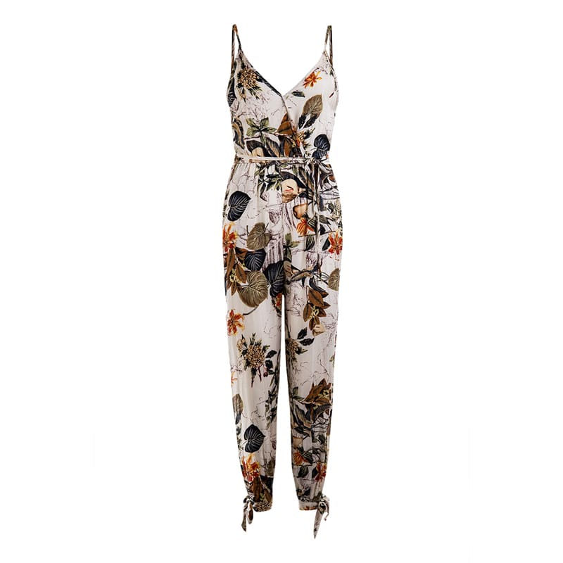2019 New Floral Print Spaghetti Strap Side Split Spring Summer Holiday Jumpsuit plus size for Women Overalls Streetwear