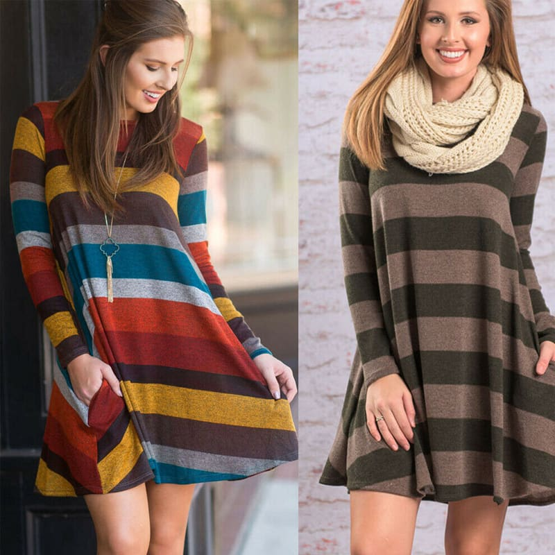 Women Stripe Mini Dress Round Neck Long Sleeve Ladies Casual Loose Tunic Pocket Short Dress