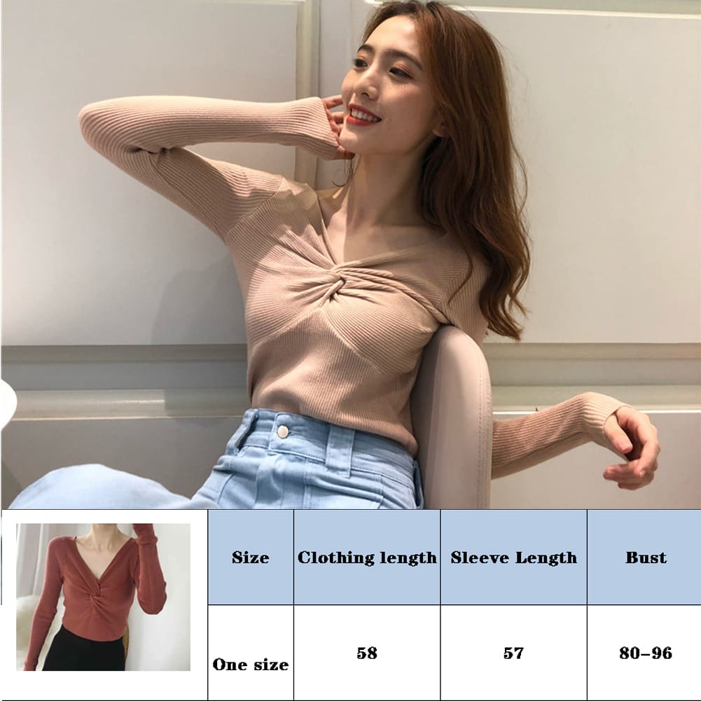 Fashion Women Girl Long Sleeve Knitted Pullover Tops Autumn V Neck Sweater Casual Jumper Knit Tops Knitwear