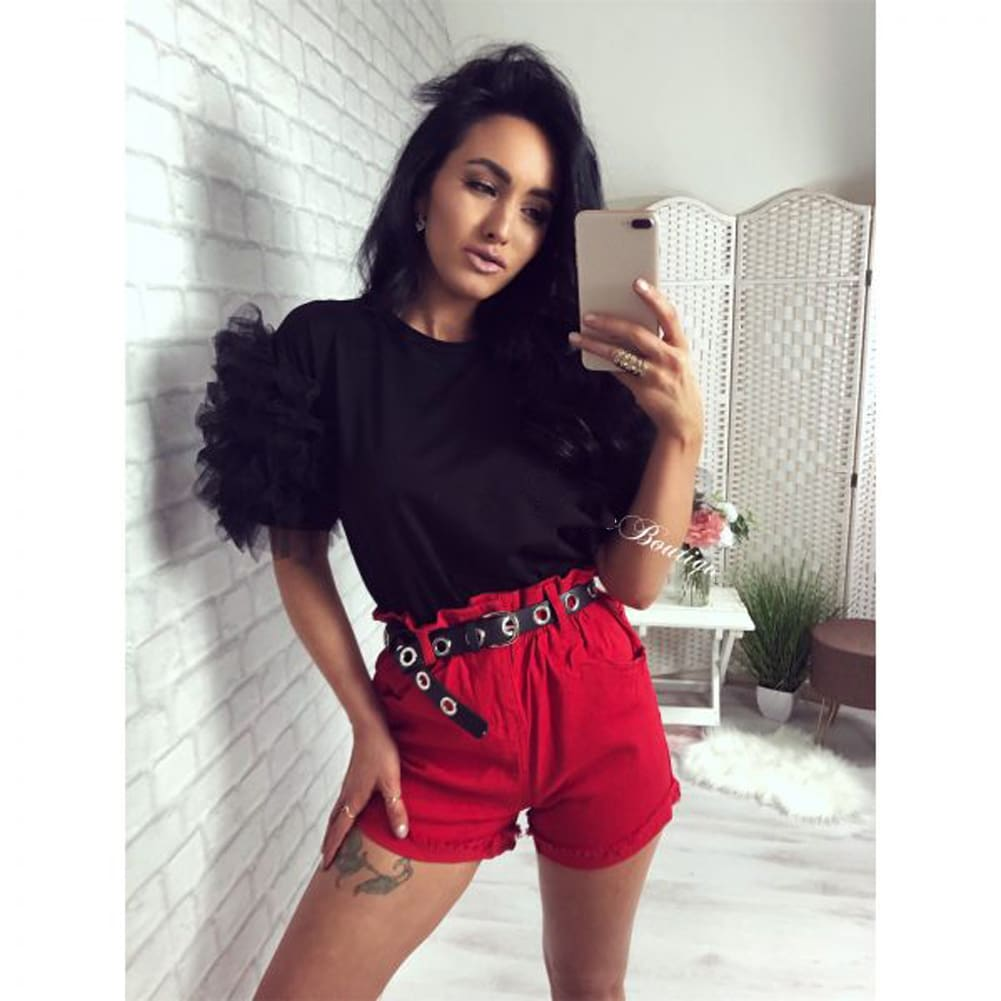 2019 Fashion Women Summer Ruffle Short Sleeve T Shirt Ladies Loose Casual Leopard Tops Shirt Holiday Outwear Streetwear