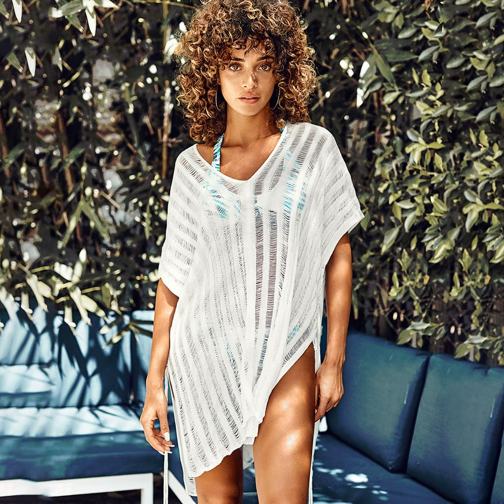 Women Summer Swimwear Bikini Cover Up Summer Beach Wear Kaftan Loose Mini Dress Beach Bathing Suit