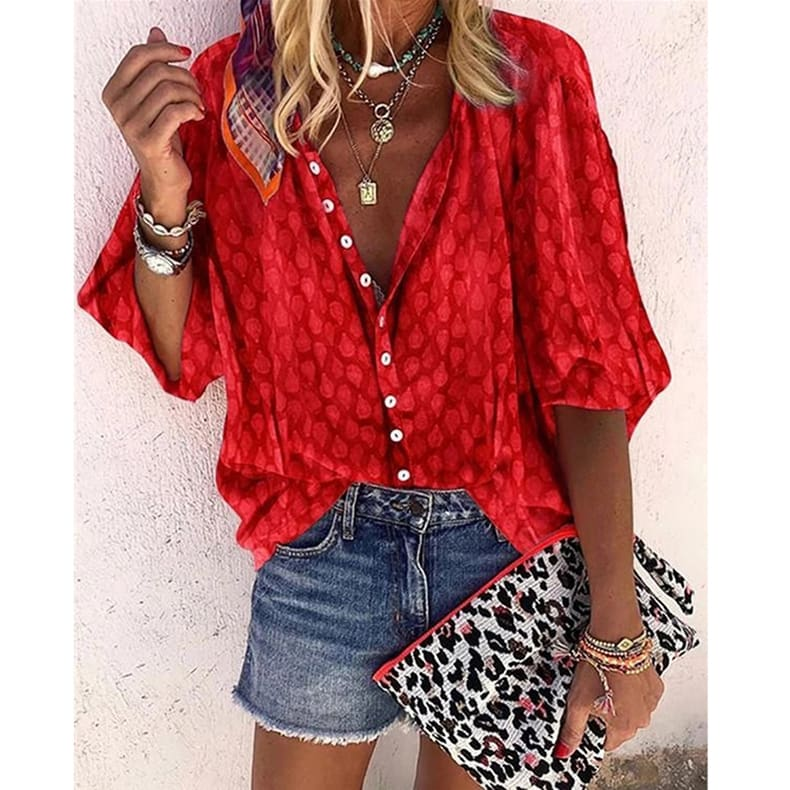 Women Long Sleeve Casual Chiffon Blouse Shirt Ladies Loose Button Holiday Tops Shirt Streetwear