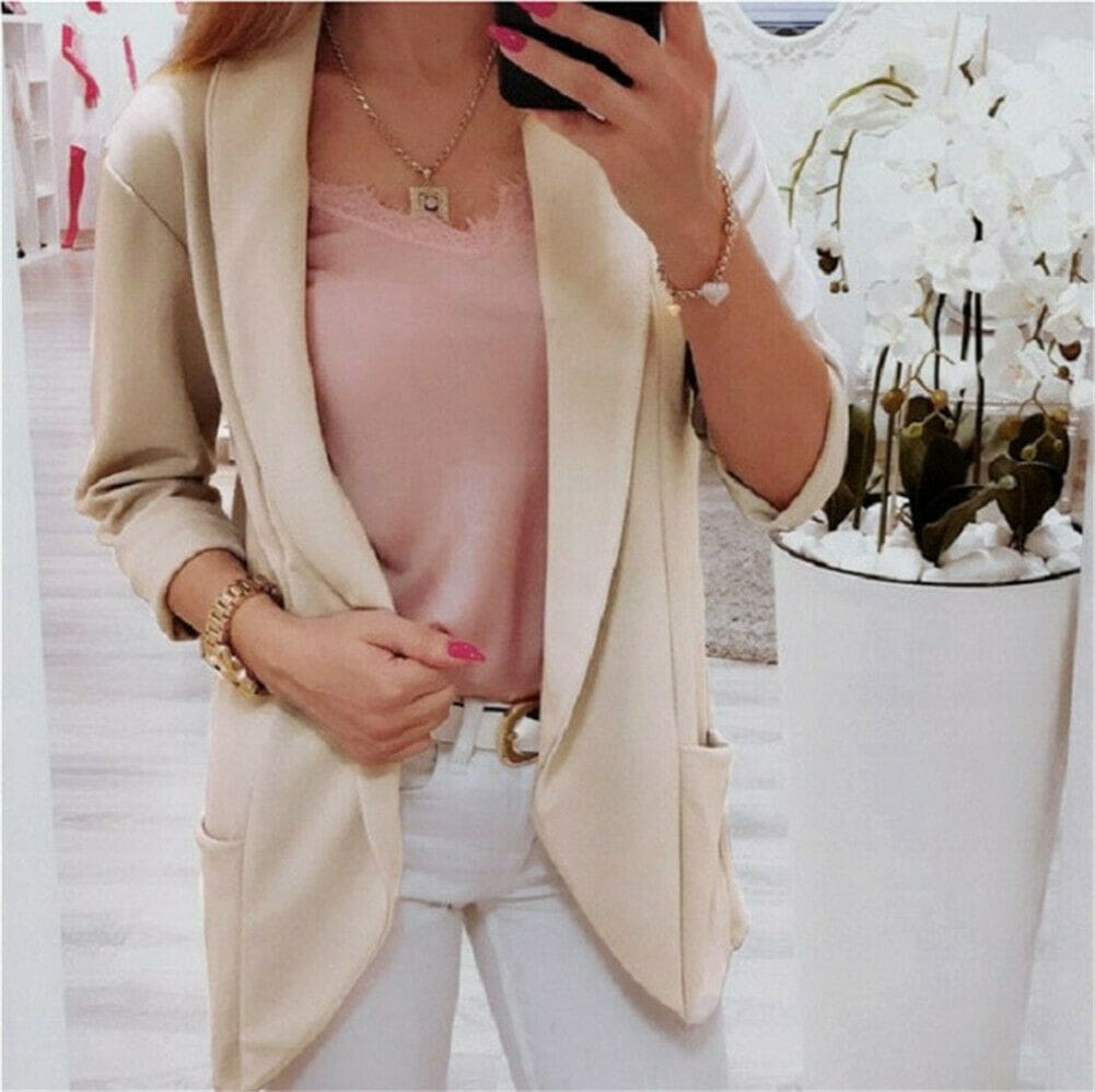 Slim Casual Business Blazer Formal Suit Work Jacket Long Sleeve Slim Fit Coat Outwear Tops