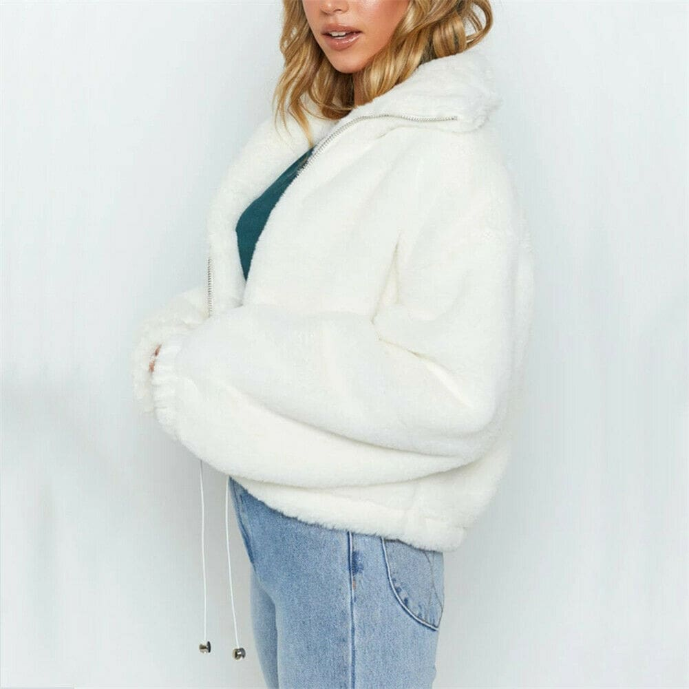 Casual Short Solid Turn-down Collar Jacket Thick Faux Fur Zipper Jacket Teddy Coat