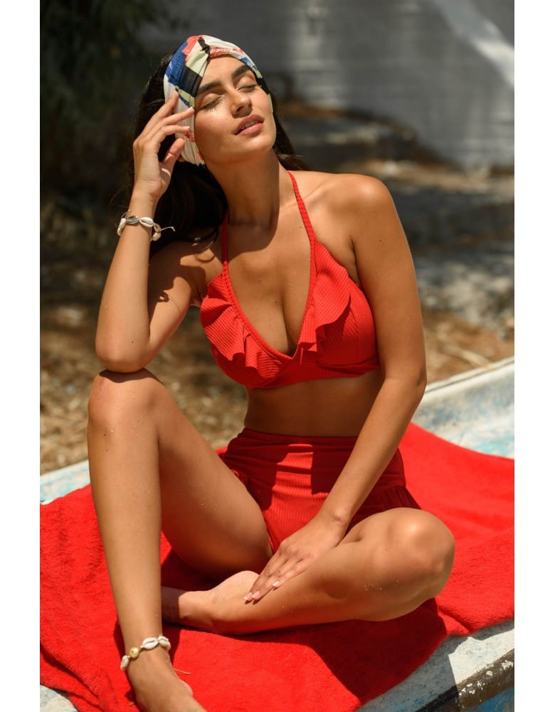 Women Push-Up Padded Solid Swimwear Strap Threaded Ruffled High Waist Bikini Set