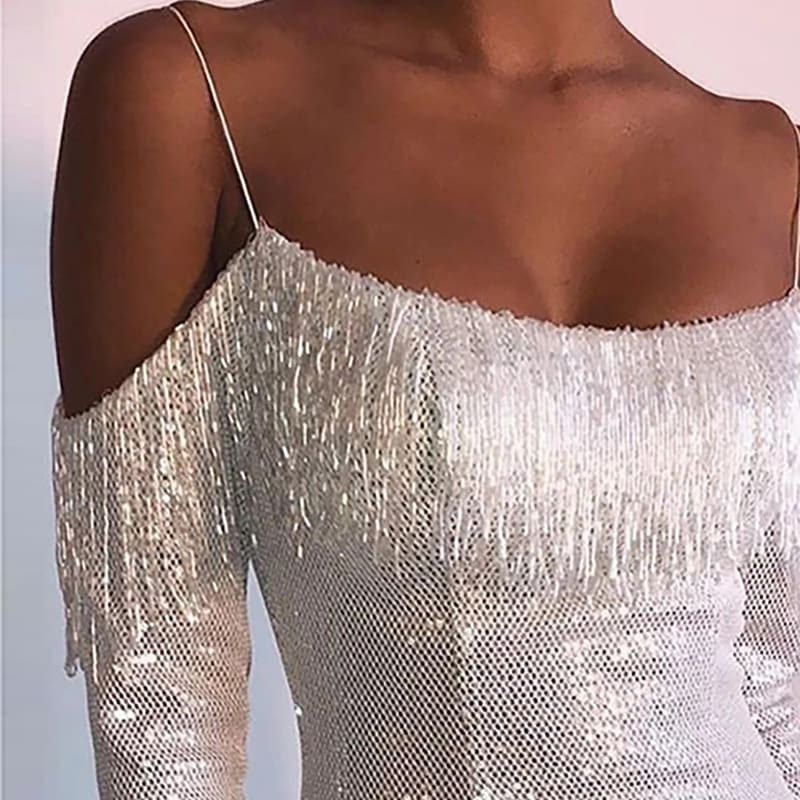 Strap Tassel Sequins Dress Party Clubwear Mini Dresses Ladies Off Shoulder Dress Vestido
