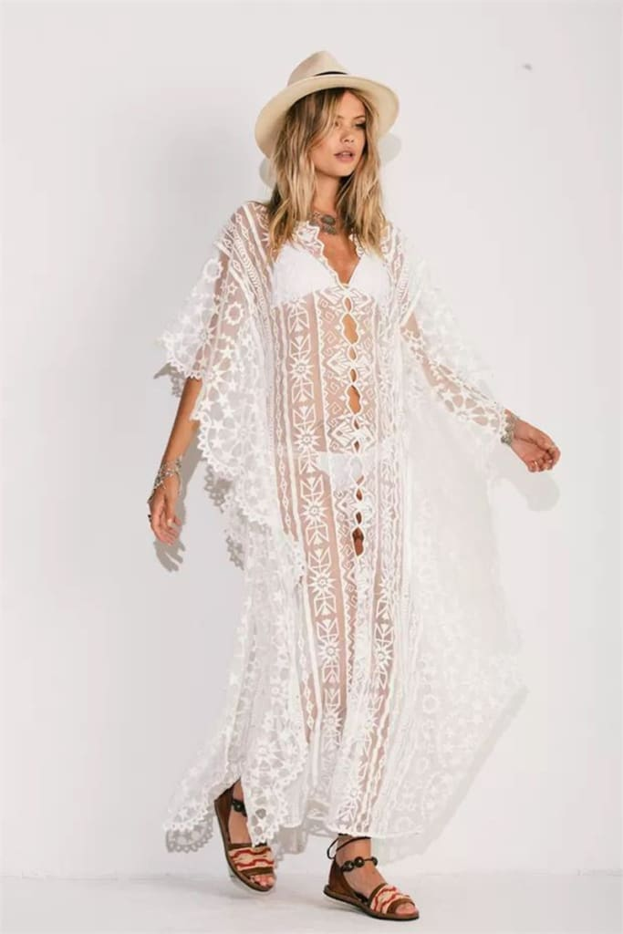Beach Chiffon Maxi Dress Women Swimwear Cover Up 2020 New All Lace Embroidery Sunscreen Bikini Cover Ups Bathing Suit
