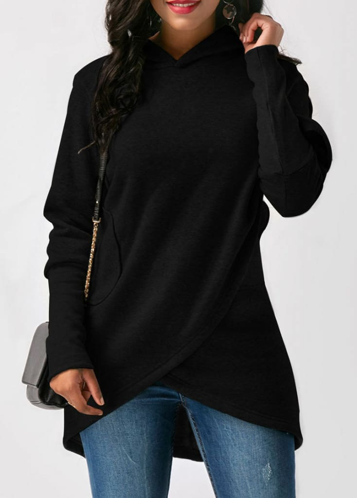 Fashion Hoodie Sweatshirt Womens Pullover Slim Long Sleeve Hooded Solid Blouse Hoodie Women Clothes Plus Size