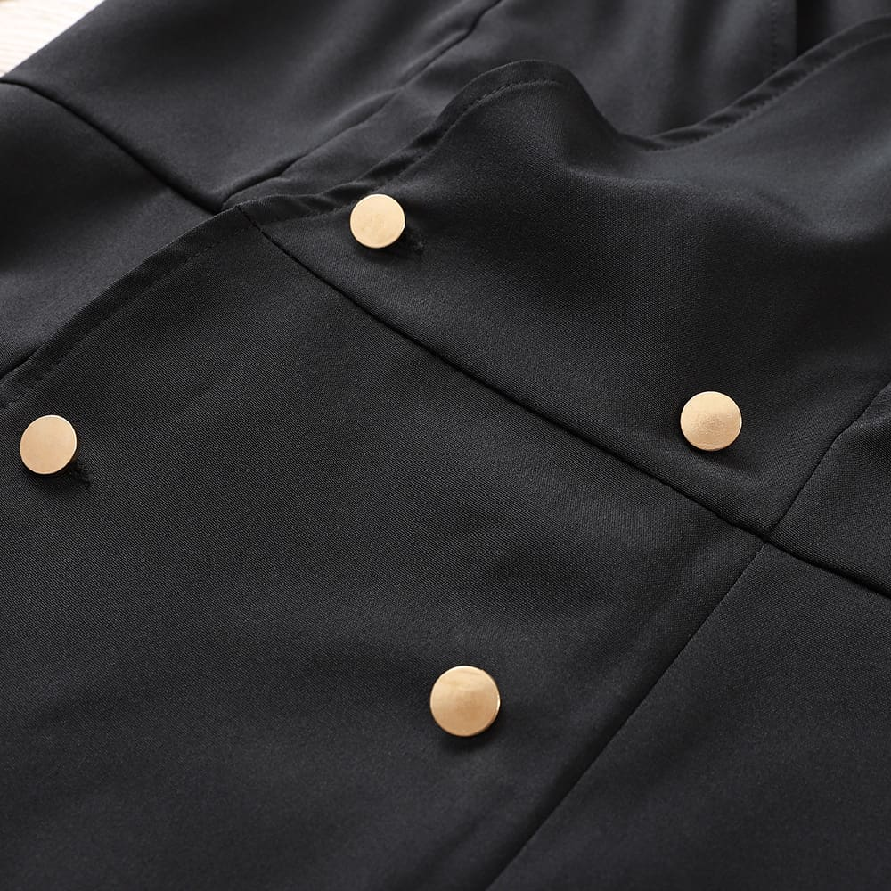 Elegant Womens Office OL Dress Fashion Bodycon Long Sleeve Button Formal Dress
