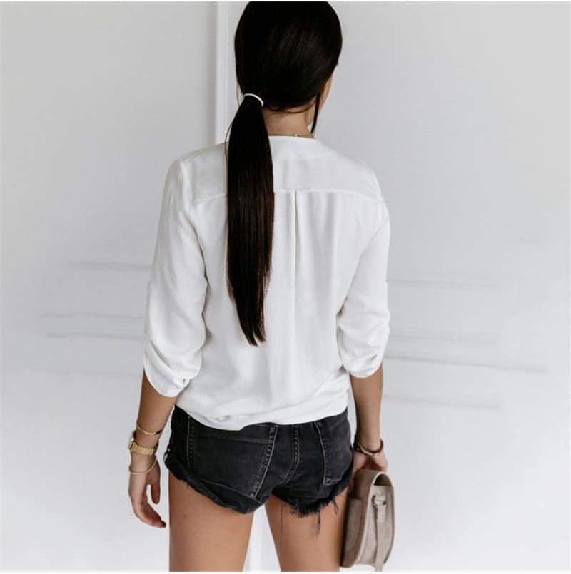 2019 Fashion Summer Womens Long Sleeve T Shirt OL Ladies V Neck Loose White Top Workout Streetwear Women Clothes