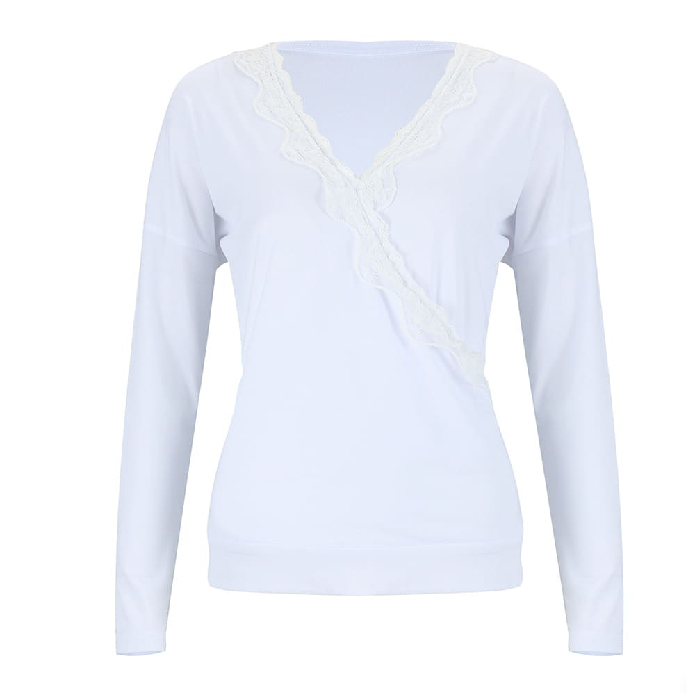Solid Simple Loose Long Sleeve Blouse Top Solid V-neck Baggy Casual Tee Shirt Streetwear