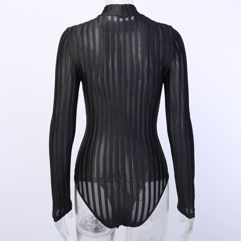 Women Stripe See Through Bodysuit Mesh Mock Neck Bodycon