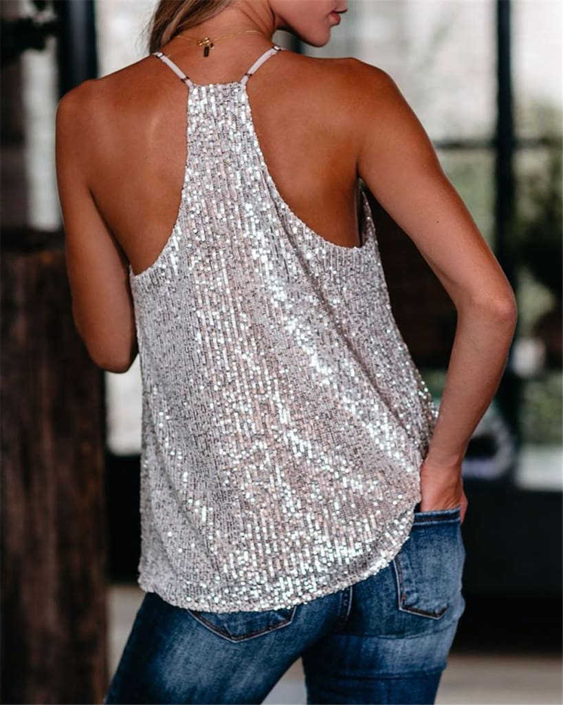 Women Camisole Casual V Neck Sequins Strappy Tank Top Vest sleeveless Solid Blouse Tee
