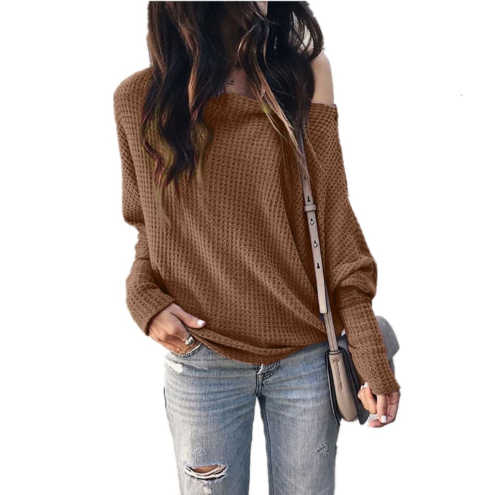 Fashion Women Autumn Cold Off Shoulder Loose T Shirts Ladies Casual Long Sleeve Pure Tops Shirt