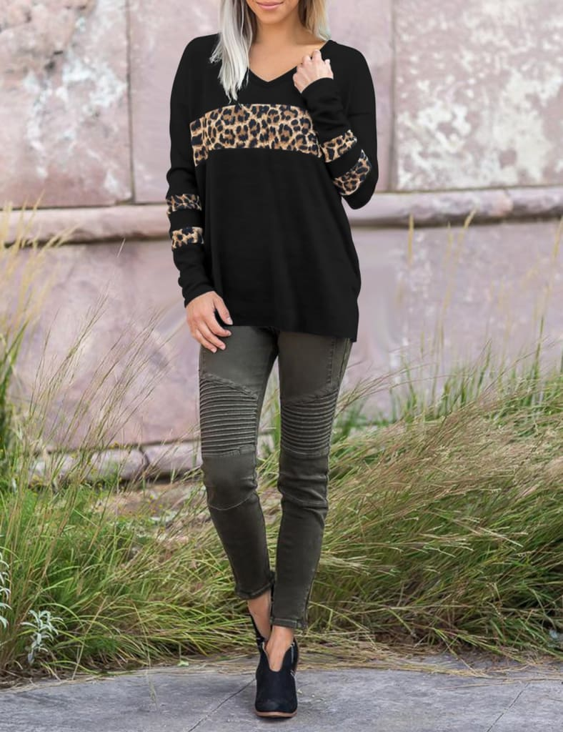 Women Leopard Tops Blouse Shirts Ladies Casual V Neck Loose Pullover Stitching Sweatshirt Tops