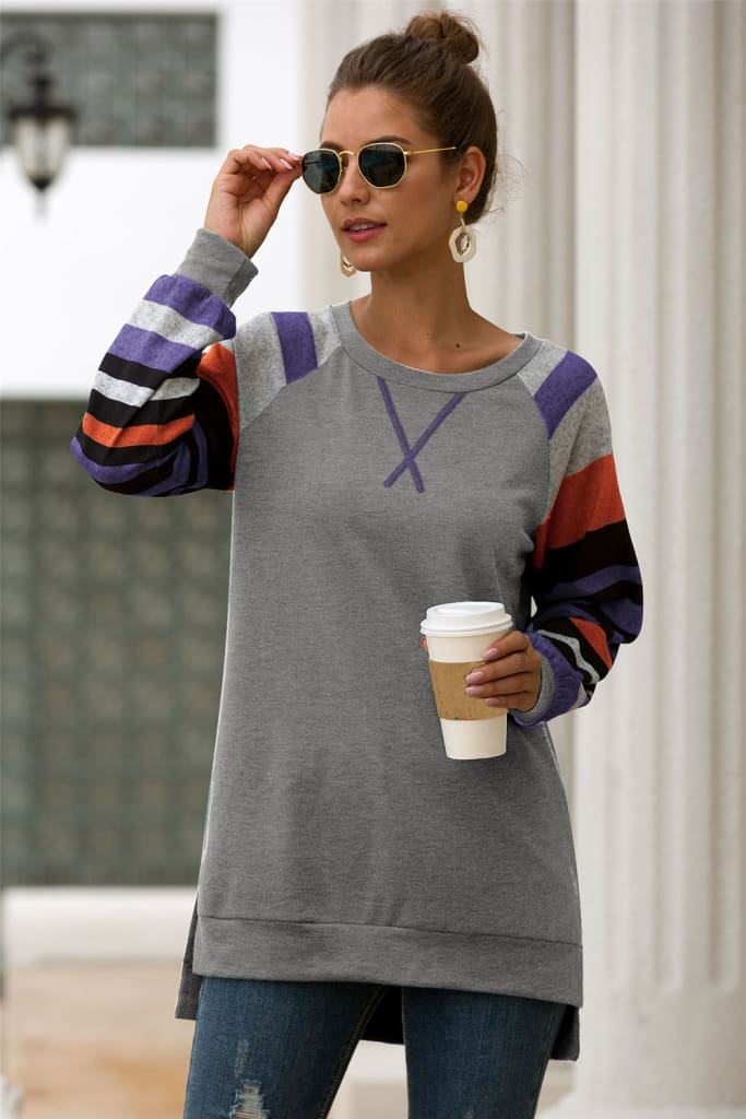 Fashion Trend Women Autumn Long Sleeve Loose Ladies Striped T-Shirt Tops Casual Comfortable Daily Tops
