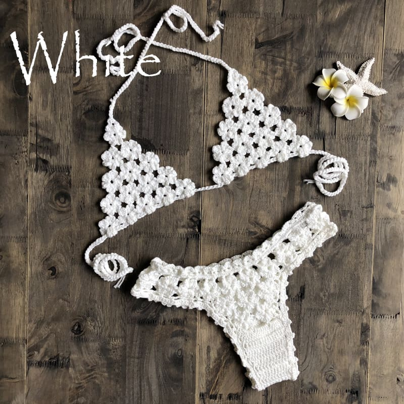 2Pcs Womens Ruffles Swimwear Bandage Knitted Bra Thong Bikini Set Push-up Unpadded Bathing Suits Swimsuit Beachwear