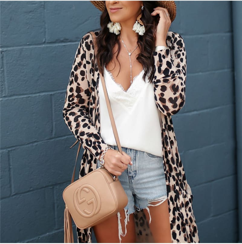 Fashion Leopard Womens Long Sleeve Cardigan Tops Loose Long Blouse Outwear Streetwear