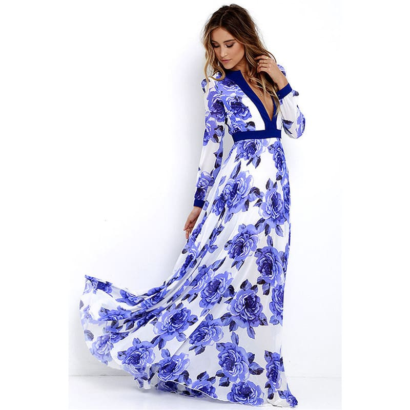 Women Ladies Long Sleeve Maxi Dress Casual Deep V-neck Floral Printed Slim Elegant Long Maxi Dress