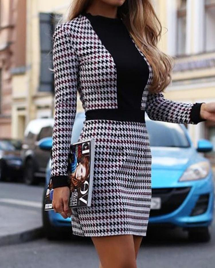 Women Short Dress Fall Winter Vintage Print Slim Long Sleeve Dresses