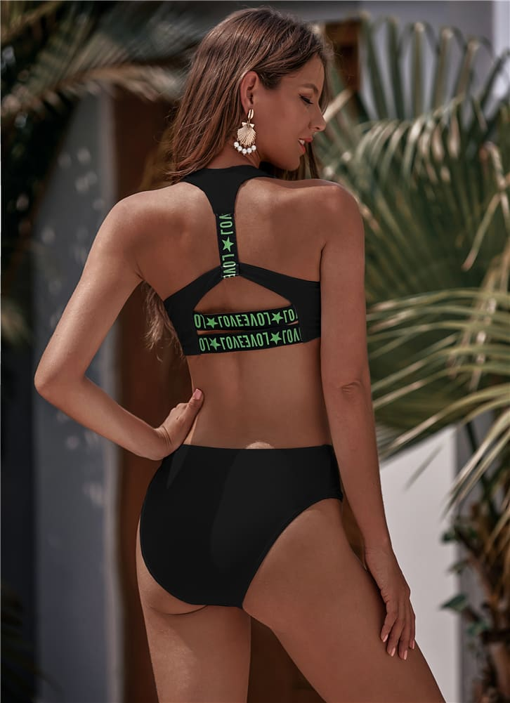 Zipper Fly High Waist Bikini Set Women Swimwear 2020 Love Printed Striped Push Up Swimming Suit Padded Bathing Sui