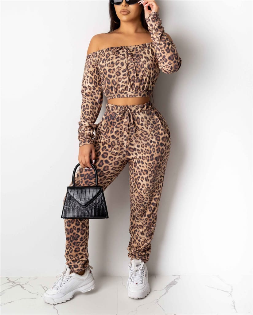 Autumn Women Leopard Tracksuit Casual Off Shoulder Long Sleeve CropTops and Long Pants Fitness Outfit Sportwear