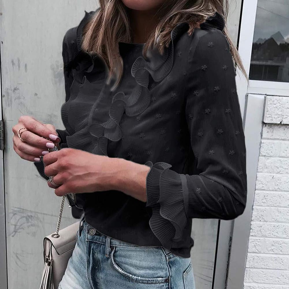 2019 Blouse Women Fashion Blouses Ruffle Ladies Tops Long Sleeve Shirt Office Lady Tops Elegant Woman Clothes Blusas Femininas