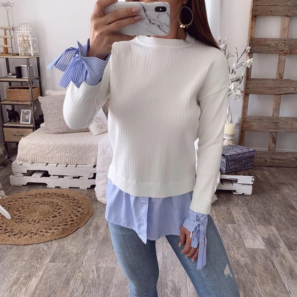 Fashion Women Casual Bowknot Round Neck Pullover Blouse Tops Autumn Lady Long Sleeve Patchwork Sweater Jumper Shirt