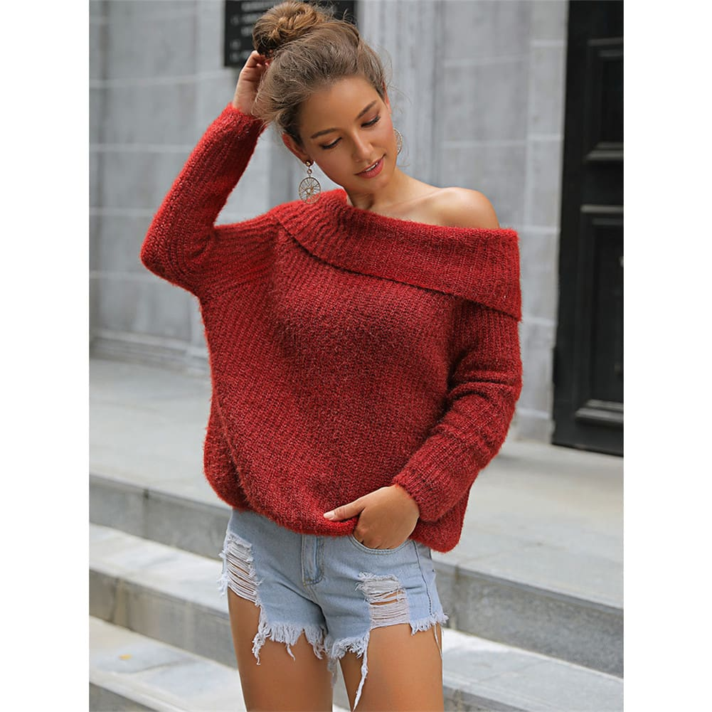 2019 Fashion Womens Long Sleeve Knitted Sweaters Jumper Off Shoulder Slash Neck Loose Knitwear Autumn Winter Warm Tops