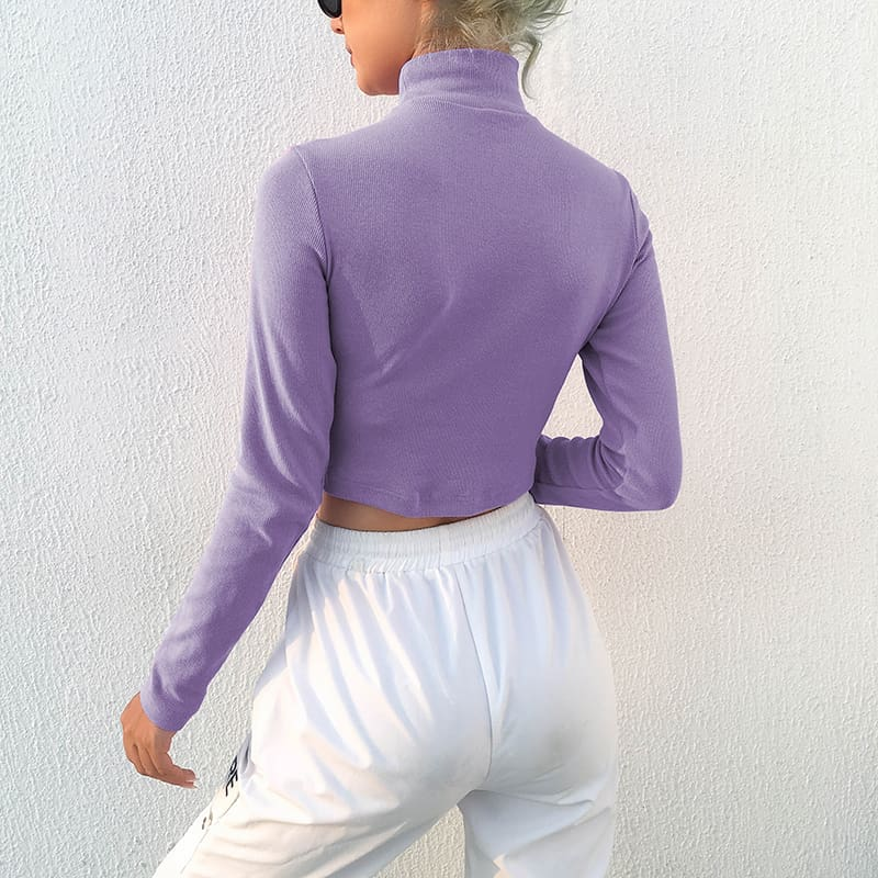 Fashion Women Basic Blouse Sweater Long Sleeve Stretch Shirts Pullover Turtle Neck Slim Purple Thread Embroidery Tops Blouse