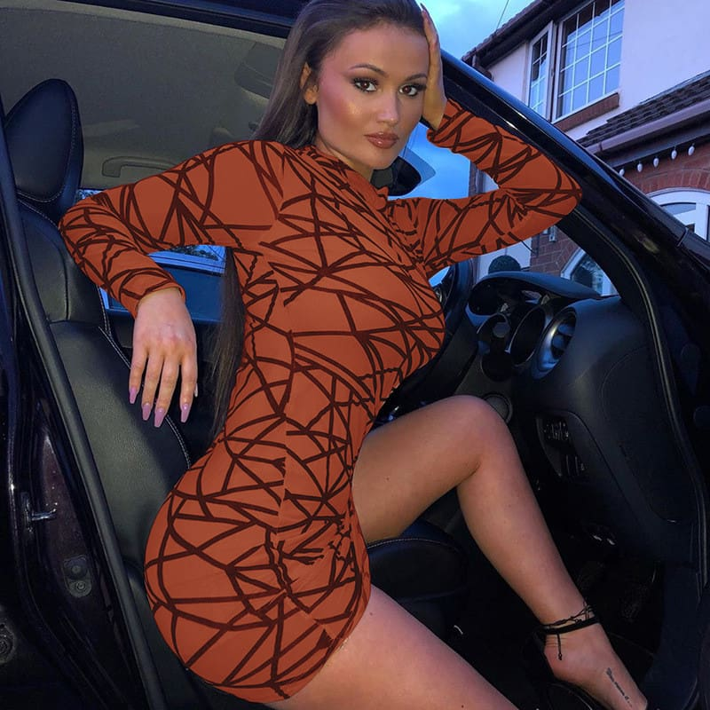 2019 Fashion Women Dress Sexy Perspective Dress Bodycon Slim Striped Pencil Dress Club Turtleneck Long Sleeve Party Mini Dresses