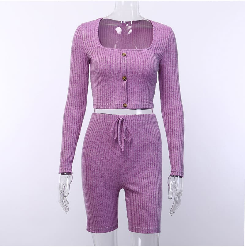 Fashion Outfits Set Women Bandage Long Sleeve Crop Top and Shorts Pants Suit Fitness Workout Sport Stretch 2 Piece Set