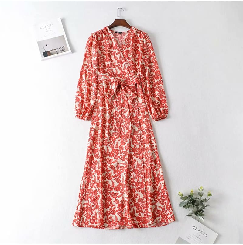 Boho Beach Summer Women Flower Sundress V Neck Long Sleeve Maxi Floral Dress Elegant Ladies Holiday Party Evening Club Dresses