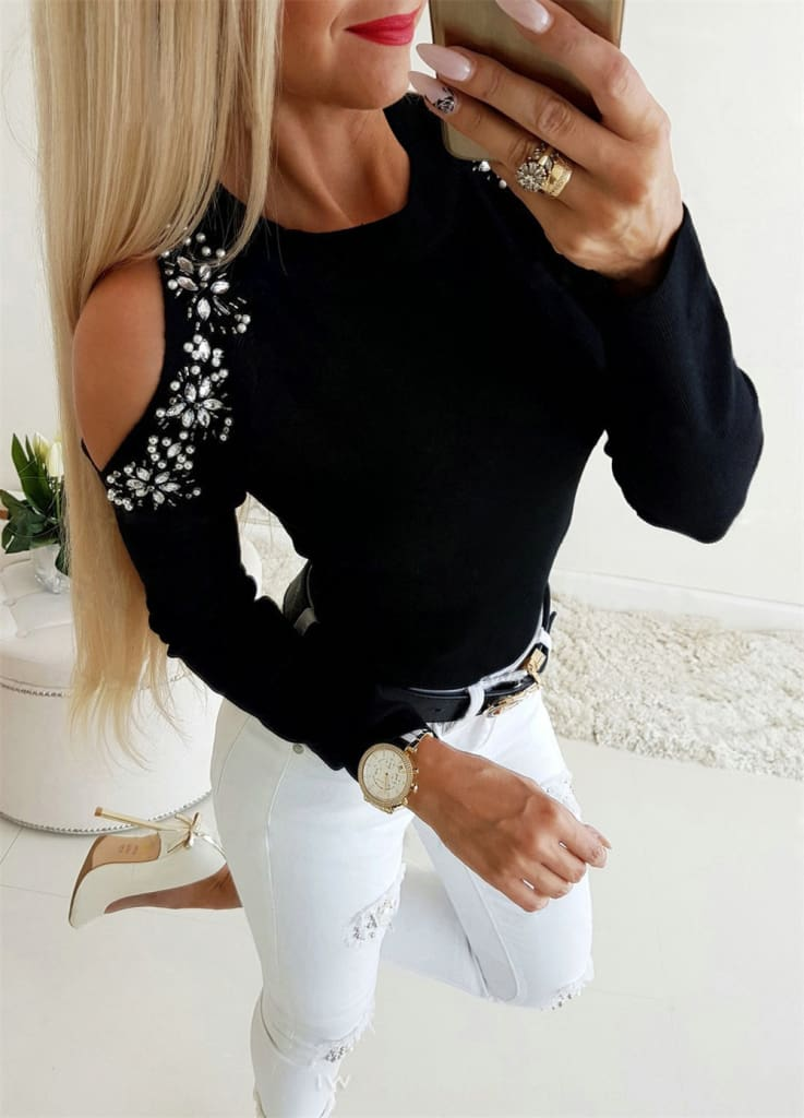 Women Cold Shoulder Blouse Tee Ladies Long Sleeve Slim Fit Casual Tops Shirt Pullover