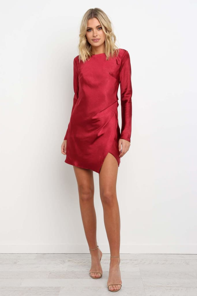 Autumn Fashion Women Lady Long Sleeve Round Neck Irregular Split Openwork Backless Party Cocktail Mini Dress