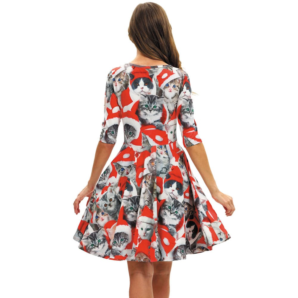 Women Party Dress Ladies Casual Half Sleeve Pleated Xmas Print Cat Snowman Swing Dress