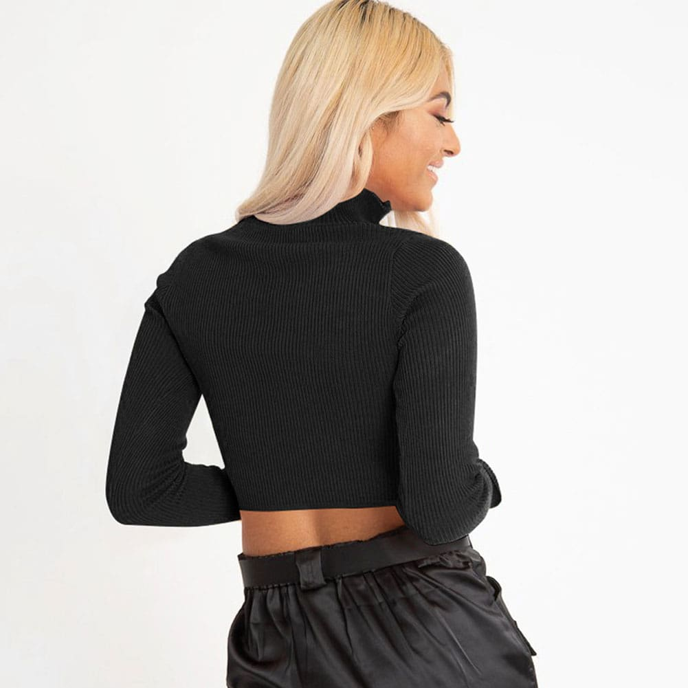Autumn Womens Long Sleeve Zipper Cropped Navel Blouse Solid Color Ladies Sexy Slim Top Tee Shirt Streetwear